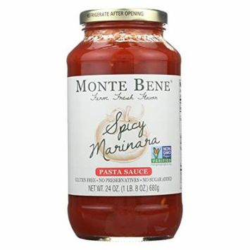 Monte Bene Pasta Sauce - Spicy Marinara - Case of 6 - 24 Fl oz.