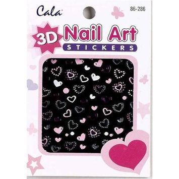 Cala 3D Nail Art Stickers x2 Packs Hearts #86286 + Aviva Eco Nail File