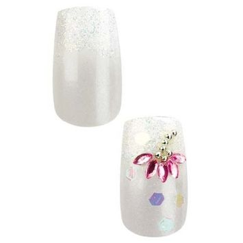 Cala Professional Dazzling Designer Nails in White with Flower Gem # 87-961 + Aviva eco nail file