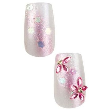 2x Cala Professional Dazzling Designer Nails in Pink with Dots and Flower Gems # 87-963 + Aviva Eco Nail File