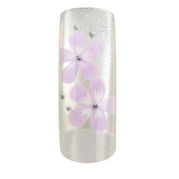 Cala Airbrushed Nail Tips Set Silver & Purple Flowers 87758+ Aviva Nail File+ Nail Glue