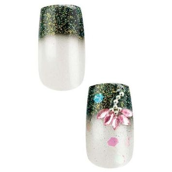 Cala Professional Dazzling Designer Nails in White with Flower Gems and Black Tips # 87-962 + Aviva eco nail file