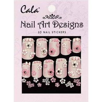 Cala Jeweled 3D Nail Art Stickers x2 Packs Flowers #86386 + Aviva Nail File