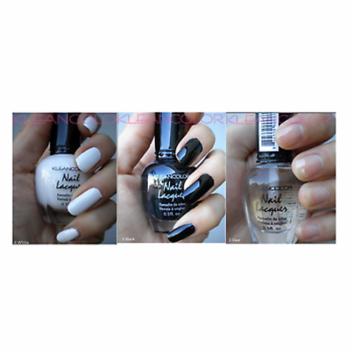 LWS LA Wholesale Store 3 Kleancolor Black and White Clear top coat Nail Polish Lot Colors Set 1,4,5