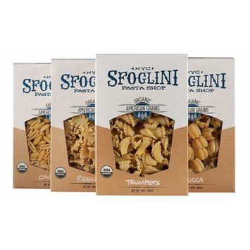 Sfoglini Organic Durum Semolina Pasta, Trumpets, Zucca, Reginetti, Cavatelli, 4 Count [Oranic Durum Semolina Variety Pack]
