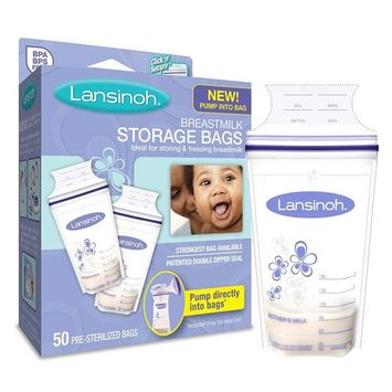 Lansinoh Breastmilk Storage Bags With 4 Pump Adapters, 100 Count, BPA and BPS Free, Ideal for Storing and Freezing Breastmilk, Convenient Pour Spout and Patented Double Zipper Seal [100 Count with Adapters]