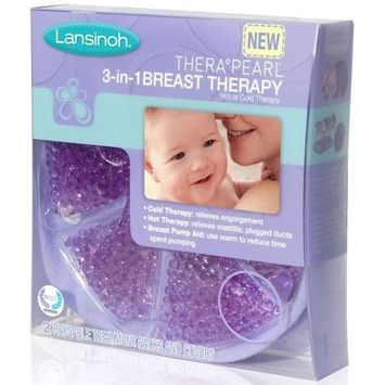 Lansinoh TheraPearl 3-in-1 Hot or Cold Breast Therapy Pack with Cover, 2 Count [Hot or C
