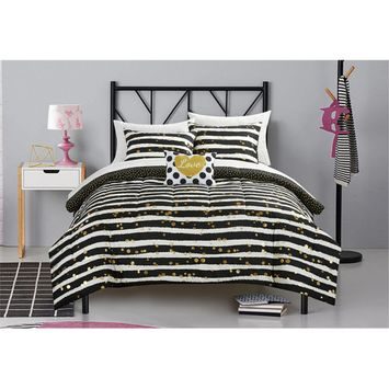 itude Gold Glitter Stripe and Polka Dot Bed in a Bag Bedding Set