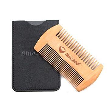 Hunputa Beard Brush,Wooden Beard Comb Anti Static Wood Pocket Comb with Fine Coarse Teeth For Beard