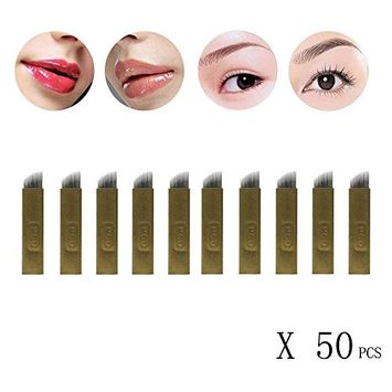 ABCsell 50Pcs 14Pins Permanent Makeup Eyebrow Tattoo Blades Microblading Needles