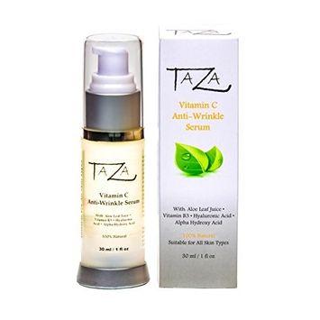 Premium Taza Natural Vitamin C Anti-Aging Serum, 1 fl oz ♦ Radiant Skin ♦ With: Aloe Leaf Juice, Ethyl Ascorbic Acid (Vitamin C), Niacinamide (Vitamin B3), Hyaluronic Acid (HA), Alpha Hydroxy Acid