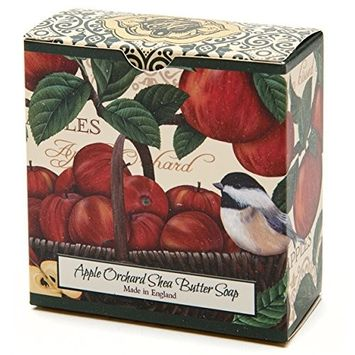 Apple Orchard, Luxury Round, Beautifully Scented Shea Butter Soap Bar, Made in England, Triple Milled. Environmentally Friendly (Green). 3.5oz.
