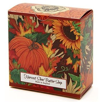 Harvest w/Golden Fall Leaves, Luxury Round, Beautifully Scented Shea Butter Soap Bar, Made in England, Triple Milled. Environmentally Friendly (Green). 3.5oz.