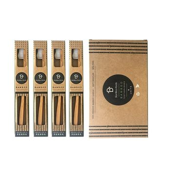 BamBoo Roots Bamboo Toothbrush Pack of 4 Eco Friendly, Organic and Biodegradable Toothbrushes