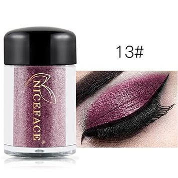 Hunputa Brand New 17 Metallic Colorful Glitter Shimmer Pearl Loose Eyeshadow Pigments Mineral Eye Shadow Dust Pot Powders Makeup Party Beauty Salon Cosmetic Tool