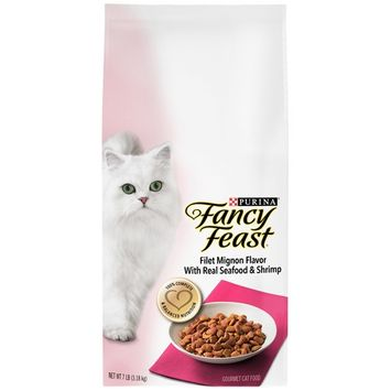 Gourmet Dry Cat Food Filet Mignon Flavor with Real Seafood and Shrimp 7 lb. Bag, USA, Brand Purina Fancy Feast