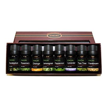 100% Pure Therapeutic Grade Essential Oil Top 8 Bottles of 10ML Scents Combo Set (Frankincense, Rosemary, Peppermint, Lavender, Eucalyptus, Lemongrass, Tea Tree, Orange) Aromatherapy