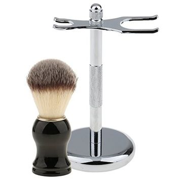 MagiDeal Soft Shaving Brush with Removable Shaving Stand Shaver Holder Stainless Steel Weighted Base Set for Men