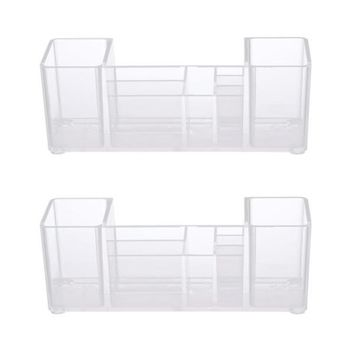 Kenney Bathroom Vanity Organizer, 8 Compartments, Clear (Set of 2)