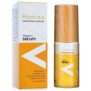 20% Naturals Vitamin C Serum for Face - 1.4 Fl Oz(40 ML) - Best Organic Anti-Aging Topical Facial Serum with Hyaluronic Acid and Vitamin E by ROMISA
