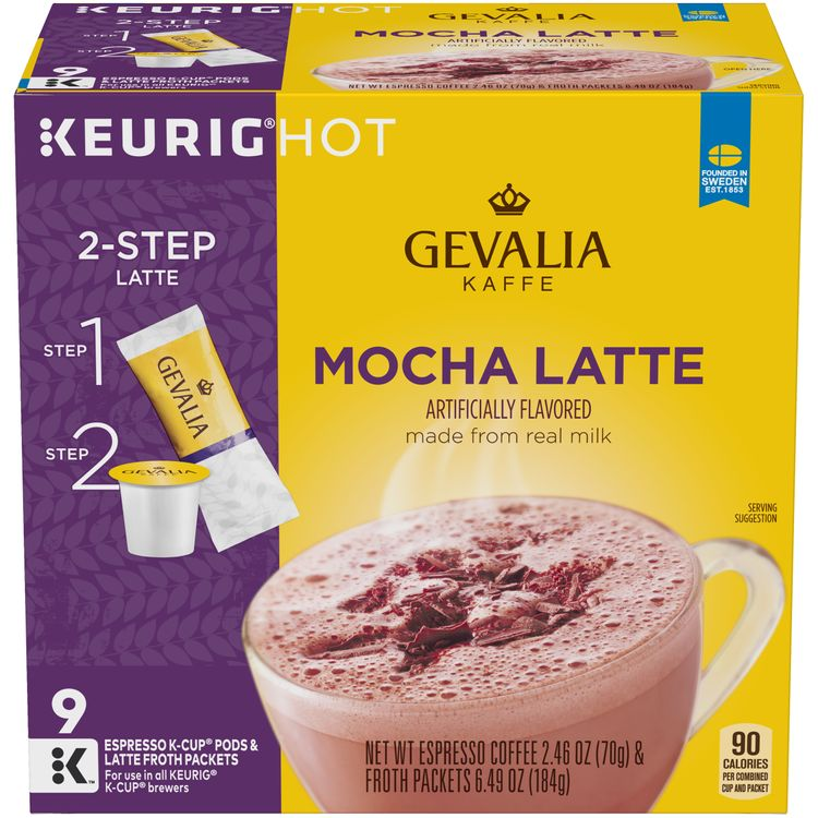 Gevalia Mocha Latte Espresso K-Cup Packs & Froth Packets