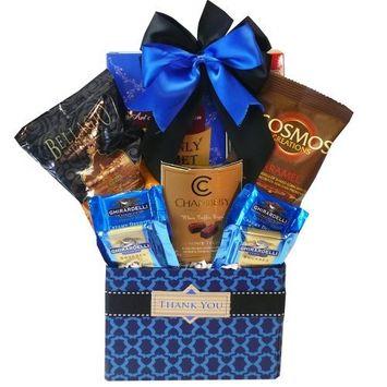 Thank You Desk Caddy Coffee & Treats Gift Basket (Chocolate Option)