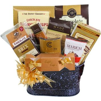 Hooked on Chocolate Assorted Truffles & Treats Gift Basket [Multiple Delivery Options]