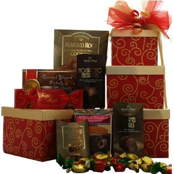 Art of Appreciation Gift Baskets Sweet Sentiments Cookie, Candy and Snacks Gift Tower [RED]