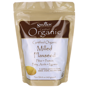 Swanson Certified Organic Milled Flaxseed 15 oz (425 grams) Pwdr