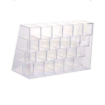 Lipstick Holder Transparent Cosmetic Makeup Organizer Case Display Rack Holder 24 slots (in a 6 x 4 arrangement)