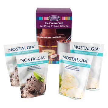 Nostalgia ICK5 Premium Chocolate and Vanilla Crème Ice Cream Starter Kit with Rock Salt