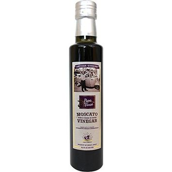Papa Vince Balsamic Vinegar - Delicious Wine Finish | Made in small batches by our family in Sicily, Italy | Aged 8-years in Oak and Chestnut wood. It has hints of Figs & Raspberry | 8.5 fl oz [Balsamic Vinegar]