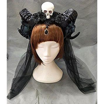 Gothic Lolita Sheep Ears Horn with Flowers Veil KC Headband Halloween Skull Hair Accessories Party