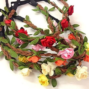 12 Pcs Flower Crown Headband Beautiful Rose Flower Headbands Girls Bohemian Style Wreath Wedding Floral Garland For Women