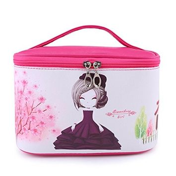 DRQ Travel Cosmetic Bag-Multifunction Portable Cute Cartoon Pattern Leather Toiletry Bag Cosmetic Makeup bags for Women Skincare Cosmetic Pouch