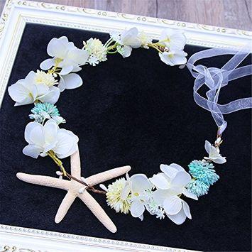 Wedding Bridal Hair Accessories Headband Beach Starfish Flower Wreath Bride Handmade Wedding Garland Hair Jewelry hair band