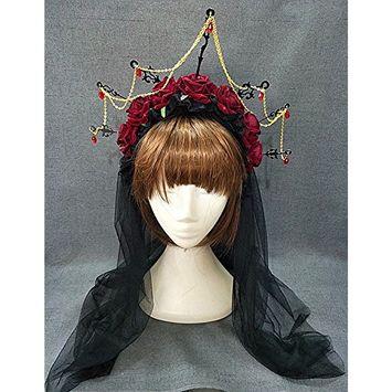 Retro Lolita Crown Rose Flower Headband Gothic Halloween Masquerade Headdress Black Veil Hair Accessories