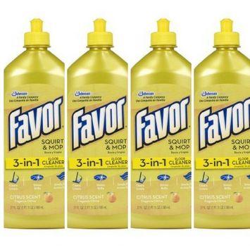 Favor 3-in-1 Floor Cleaner (Citrus Scent-27 Ounces, 4 Pack)