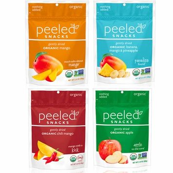 Peeled Snacks Organic Dried Fruit Variety Pack, Much-Ado-About Mango, Paradise Found, Mango with a Kick, and Apple To-The-Core, 4 Count