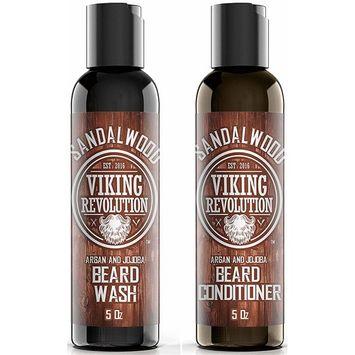 Beard Wash & Beard Conditioner Set w/Argan & Jojoba Oils - Softens & Strengthens - Natural Sandalwood Scent - Beard Shampoo w/Beard Oil
