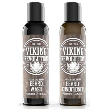 Best Deal Beard Wash & Beard Conditioner Set w/Argan & Jojoba Oils - Softens & Strengthens - Natural Peppermint and Eucalyptus Scent - Beard Shampoo w/Beard Oil