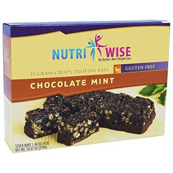 NutriWise - Chocolate Mint Crispy Diet Bars | Low Sugar, Low Fat, High Protein, High Fiber, Gluten Free (7/Box)