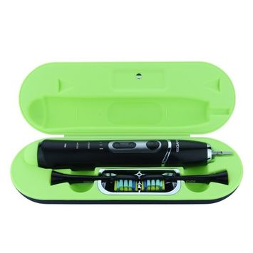 KIVOS Rechargeable Electric Toothbrush, Sonic Battery Powered Toothbrush for Travel Home with UV Sanitizer Case and Timer, 2 Brush Heads (Black)