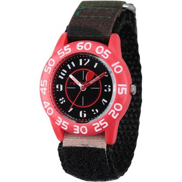 Red Balloon Boys' Red Plastic Time Teacher Watch, Camo Hook and Loop Nylon Strap with Black Backing