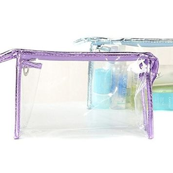 Transparent Waterproof Thicken PVC Cosmetics Bag Hand Pouch Organizer Makeup Bag Tote Bag Beach Storage Bag with Zipper and Wash Versatile