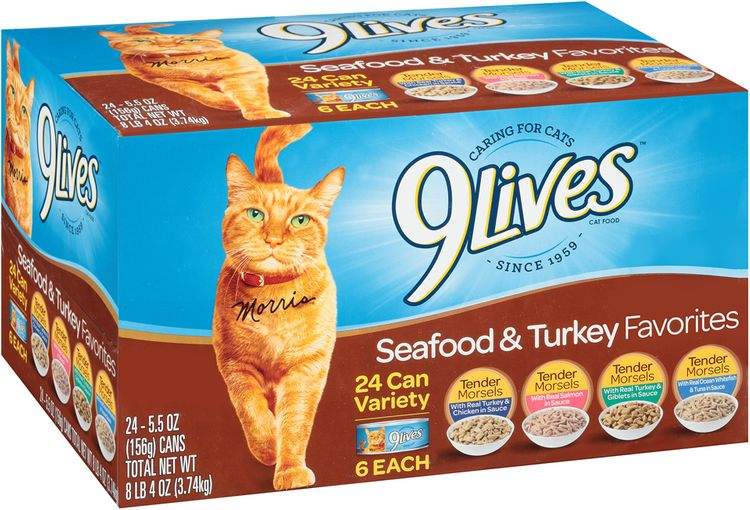 9Lives Turkey & Seafood Favorites Wet Cat Food Variety Pack