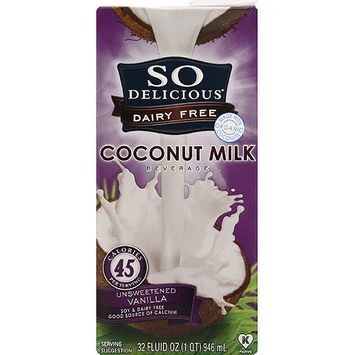 So Delicious Dairy Free Coconut Milk Beverage, 32 fl oz, (Pack of 12)