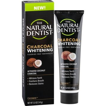 The Natural Dentist Charcoal Whitening Fluoride-Free Toothpaste, Cocomint, 5 Ounce Tube, Activated Coconut Charcoal Toothpaste for Naturally White Teeth, Bleach-Free Teeth Whitening