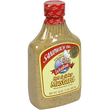 Woeber's Sandwich Pal Hot & Spicy Mustard, 16 oz. (Pack of 6)