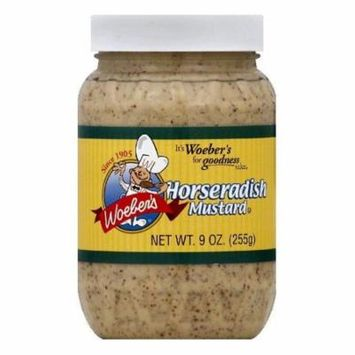 Woebers Horseradish Mustard, 9 OZ (Pack of 12)